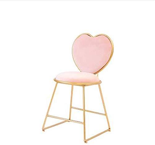 YLCJ Manicure-kruk van metaal, zachte stoel in hartvorm, voor thee, café, eetkamer, slaapkamer, kaptafel, hoogte 45 cm (kleur: blauw) yellow