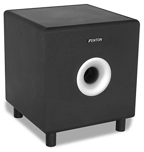 """Fenton SHFS08B Subwoofer Caisson de Basse Amplifié 8"""" Noir, Actif, 200 Watts, Bass-Reflex, Qualité sonore optimale, Caisson de Basse pour Home Cinéma ou HiFi"""