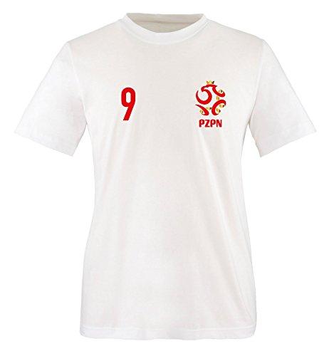 EM 2016 - Trikot - EM 2016 - Polen - 9 - Kinder T-Shirt - Weiss/Rot-Gold Gr. 134-146