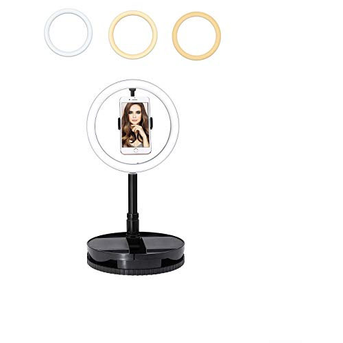 iEGrow Ring Light 10 Pulgadas USB Anillo de Luz for Phone Foldable Selfie Light LED with Stand and Bluetooth 3500-6000K 3 Color 10 Brightness for Fotografia, Live Stream, Youtube, Foto- und Video.