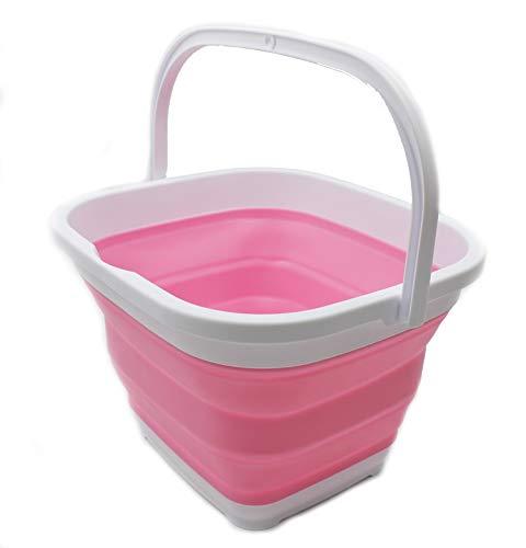 SAMMART Aufbewahrungskorb, zusammenklappbar, rechteckig, 10,6 l (Weiß/Pink)