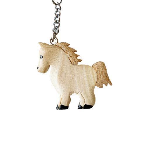 JA Horse - Holz Schlüsselanhänger Pferd Pferdchen Pony Reiten Tier handgemacht (weißes kleines Pony)