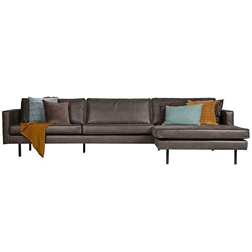 Eckgarnitur Rodeo Leder schwarz Couch Sofa Ecksofa Ledercouch Longchair rechts