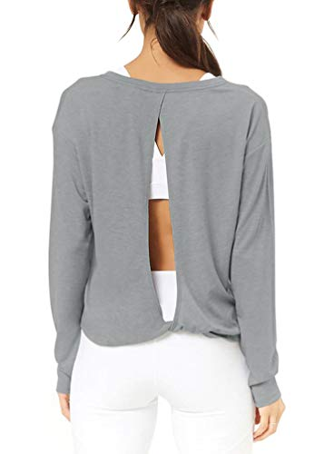 Bestisun Long Sleeve Yoga Shirts Open Back Workout Tops Women Backless Top Exercise Clothes for Women Loose Fit Heather Gray S