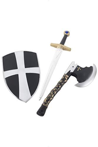 Smiffys Kinder Unisex 3-teiliges Kreuzritter Set, Schild, Schwert und Axt, Schwarz-Silber, 31350