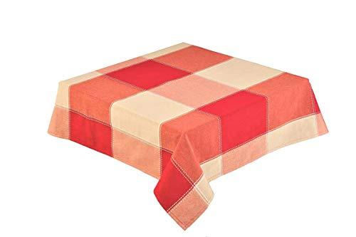 132,1 x 228,6 cm rectangulaire (127 x 229 cm) Rouge/naturel Grande nappe à carreaux (République 59926)
