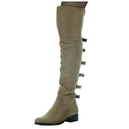 Angkorly - Scarpe da Moda Stivali Alti Cavalier Flessibile Donna Nodo Tacco a Blocco Tacco Alto 3.5 CM - Soletta Foderato di Pelliccia - Khaki H202 T 36