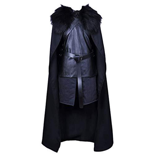 DYB Juego de Tronos TV Cosplay Jon Snow Disfraz Disfraz Halloween Cuero Medieval Rey Caballero Disfraz Guerrero Robe Juego Completo, Negro - 163  167cm - Adornos navideos