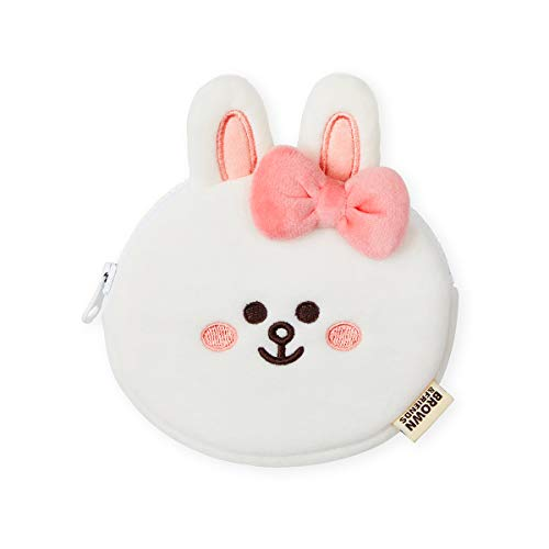 Line Friends Mini Friends Collection CONY Character Small Plush Coin Purse ID Card Wallet Pouch with Zipper, White