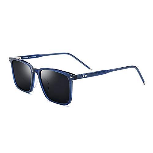 Raxinbang Gafas de Sol Gafas De Sol De Aleación Cuadradas for Hombres con Montura Azul Polarizadas Gafas De Sol Femeninas Gris Protección UV400