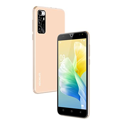 Teléfono Móvil Libres, (2021) 4G Smartphone 5.5 Pulgadas Android 9.0 Moviles Baratos y Buenos 2GB+16GB/ 64GB Ampliables, 3600mAh Baterí Cámara 8MP+5MP,Face ID/GPS/FM (Oro)
