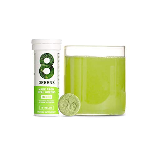 8Greens Effervescent Super Greens Dietary Supplement - 8 Essential Healthy Real Greens in One (Melon, 1 Tube/10 Tablets)