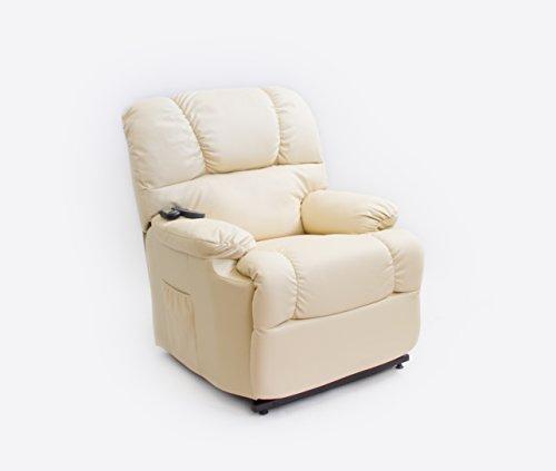 Astan Hogar AH-AR10100CR Sillón Relax Con Función Auto-Ayuda (Levanta Personas), Reclinación Eléctrica, Masaje Y Termoterapia. Modelo Automático Lift Up, color crema