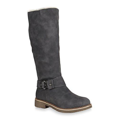 Stiefelparadies Damen Schuhe Bikerstiefel Warm Gefütterte Schnallen Stiefel Nieten 148500 Grau Camargo 37 Flandell