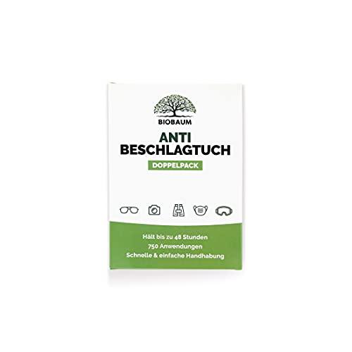 BIOBAUM® Antibeschlagtuch DOPPELPACK 15x15 cm für Ihre Brille, Taucherbrille, Schwimmbrille, Auto uvm. Reinigungstuch (2x Antifog Tücher pro Verpackung)