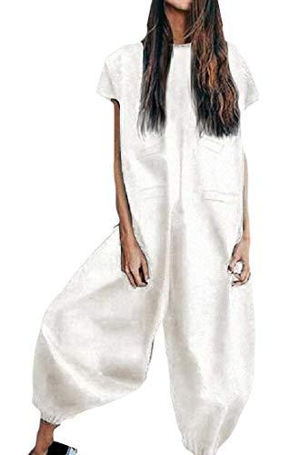Qiangjinjiu 女性固体Vネック半袖のバギーハーレムジャンプスーツハーレムオーバーオールプレースーツ White M