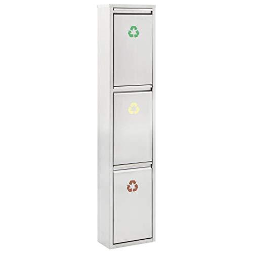 Cubo Basura Reciclaje 3 Compartimentos Vertical Cubetas Extraíbles Separador Basuras Acero Inoxidable Símbolos Colores Identificar Residuos