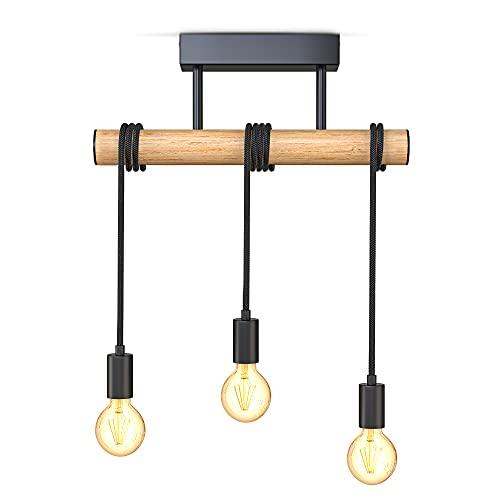 B.K.Licht I Lámpara colgante de 3 llamas I metal y madera I E27 I negro mate I lámpara colgante de época I lámpara colgante retro I sin bombilla