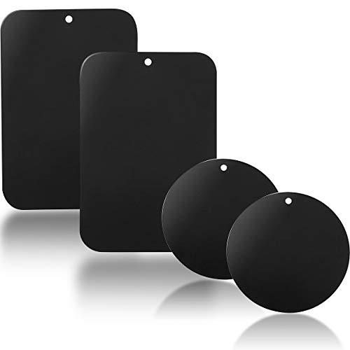 YGKJ 4 Pezzi Placche Metalliche Adesive Piastra Metallo con Adesivo 3M Universale per Supporto Magnetico Auto/Porta Cellulare da Auto Calamita (2 Rotonde e 2 rettangolari) (Nero)