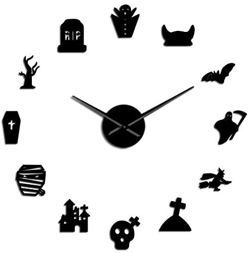 J-Clock Reloj Pared Grande DIY Moderno decoración Halloween Pegatina Espejo 3D Metal, Relojes Grandes silenciosos Decoraciones Escolares Oficina en casa