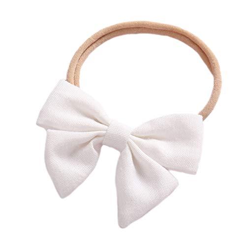 EXCEART Serre-Tête Doux Et Noeud de Lin Accessoire de Coiffure de Bande de Cheveux en Nylon Extensible pour Bébé Nouveau-Né (Blanc)