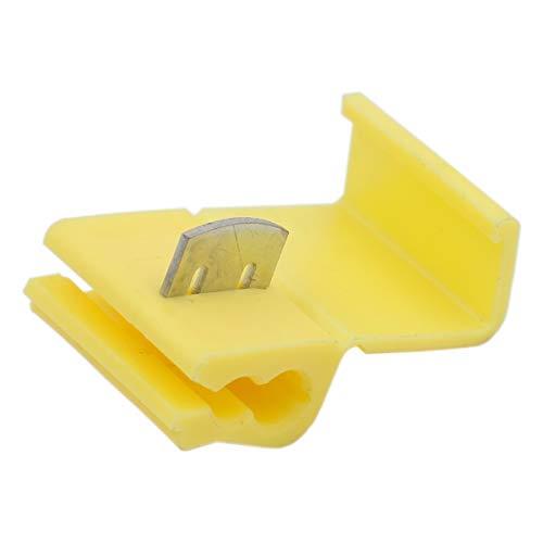 Heschen - Conectores de empalme rápido sin soldadura (4-6 mm, 2 terminales de 12 a 10 AWG, 50 unidades), color amarillo