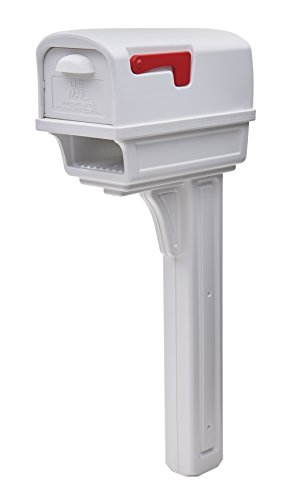 Gibraltar Mailboxes Gentry Large Capacity Double-Walled Plastic White, All-In-One Mailbox & Post Combo Kit, GGC1W0000