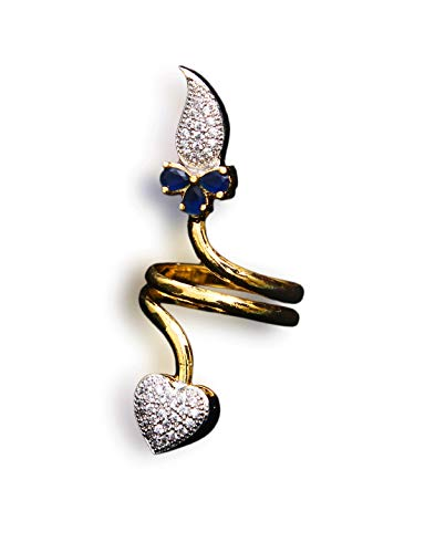 CaratYogi Beautiful Enamel Work Ring Heart Blue Sapphire, Cubic Zircon, Ruby Blue-White Indian Handmade Gold Plated Hand Jewellery for Girls Ladies Women MKR 58-Blue