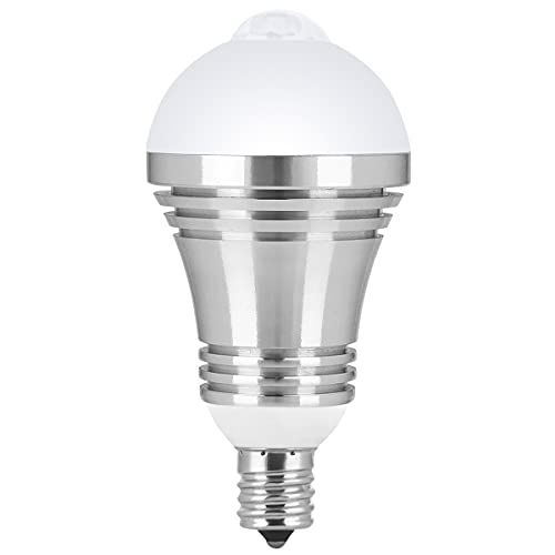 LED電球 センサー E17口金 人感センサーライト 昼白色 10W 60W相当 自動点灯/消灯 810lm 6000K 高輝度 節電 赤外線センサーライト 小型電球 廊下/玄関/洗面所/階段/室内 日本語取扱付属 1個入り Mersuii