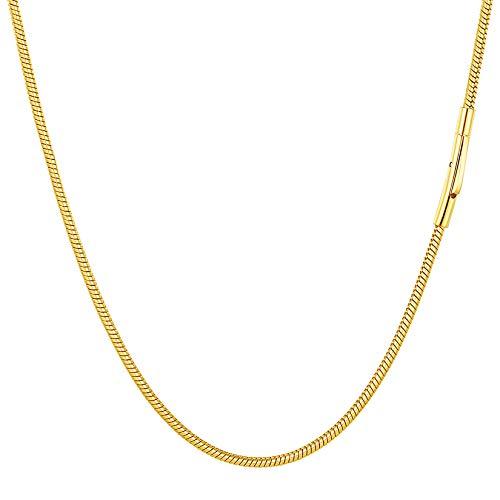 PROSTEEL Collar Serpiente Mujer Eslabones Redondos 51cm Cadena para Cuello Chapado En Oro