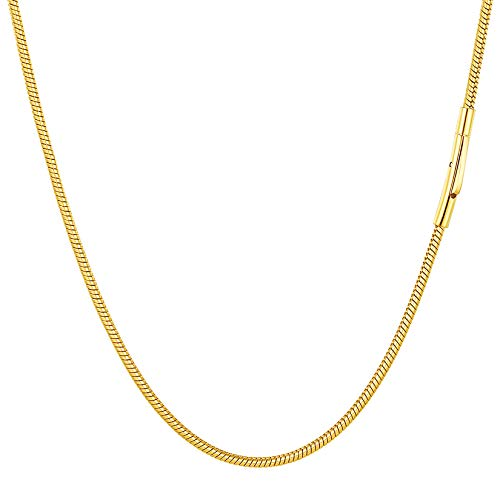 PROSTEEL 18K Oro Chapado Cadena para Hombre, Eslabones Redondos Acero Serpiente 71cm