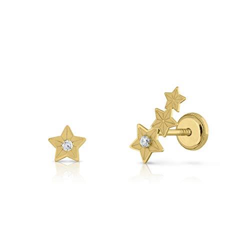Pendientes Oro de Ley Certificado/Niña/Mujer. Trepador y estrella, Cierre de seguridad. Medida 5 x11 mm. (4-5228)