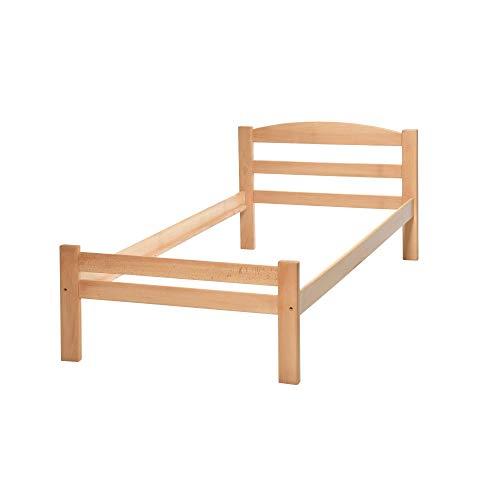 acerto 20022 Massivholz-Bett aus Buche, 90x200cm Handarbeit Extrem robust Zeitloses Design, Bettgestell als natürliches Schlafzimmer-Möbel, Doppelbett Hochwertiges Massivholz-Möbel aus Handarbeit