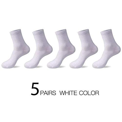 Hochwertige Casual Herren Business Socken Sommer Winter Baumwollsocken Schnelltrocknend Schwarz Weiß Lange Socke Plus Size US7-14-White-1