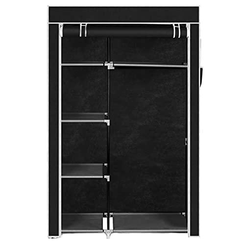 YUXI8541NO Armario portátil para dormitorio, color negro, armario de almacenamiento, organizador de 4 capas, no tejido, a prueba de polvo, muebles para el hogar