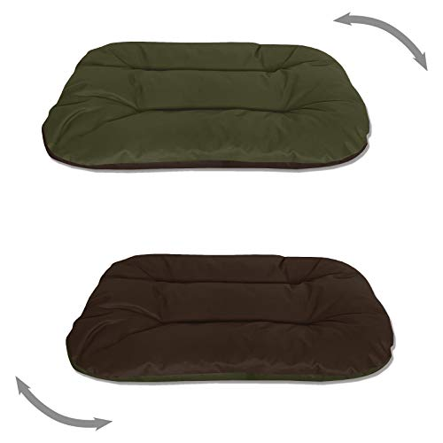 BedDog® 2in1 hondenmand REX dubbelzijdig ovaal hondenkussen, grote hondenbed, hondensofa, wasbaar, L groen/bruin