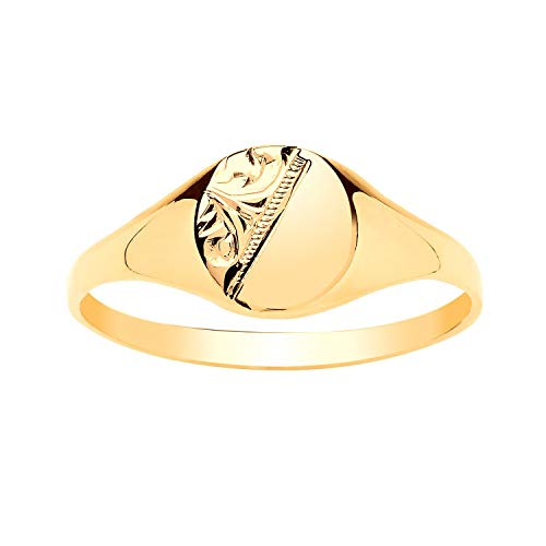 9ct Yellow Gold Boys/Girls Engraved Pattern OVAL Signet Ring - Engravable - 9ct Yellow Gold - Size K