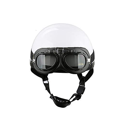 YAJAN-helmet Casco de Moto para Hombre - Casco de Cuero Motocicleta Scooter Mitad de Coche de Época Cara Abierta con Gafas Piloto, Universal para Hombres y Mujeres