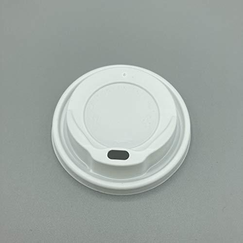 ENpack 1000 Deckel für Kaffeebecher 80mm/8cm Weiß - 0,2l/0,3l - Coffee To Go Deckel für Pappbecher - Kunstoff - Kaffe/Tee/Kakao/Latte Machiato/Cappuccino - Ideal für Unterwegs