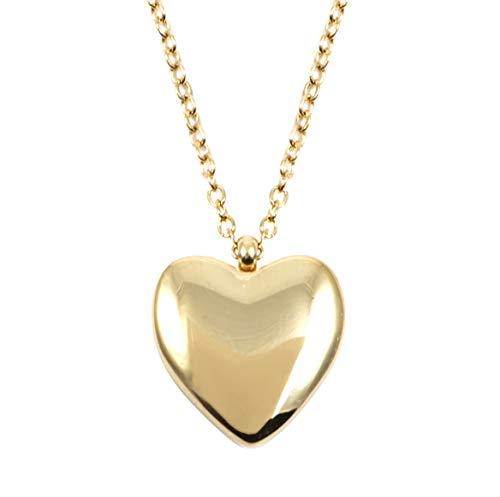 Happiness Boutique Damen Herz Kette in Goldfarbe | Zarte Halskette mit Herz Anhänger Liebe Symbol Charm Edelstahlschmuck