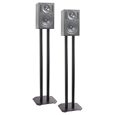 Duronic Speaker Stand (pair) SPS1022-80   LARGE 80cm   Set of 2 Steel Base Supports for Stereo Loudspeakers   Floor Standing with Spikes, Shoes and Pads   Insulating   Black   For Better Audio from Duronic