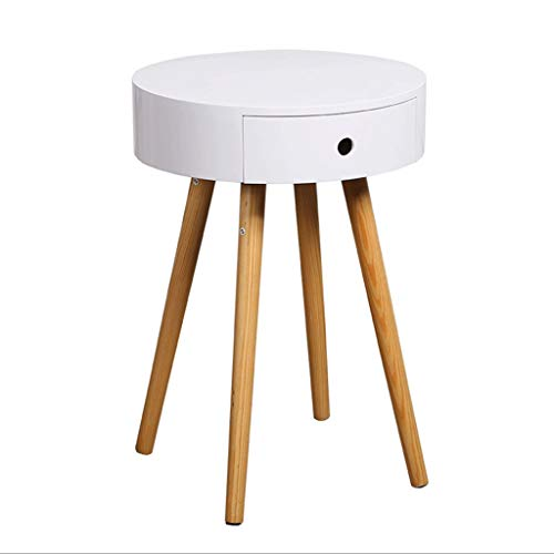 Table de Chevet Ronde en Bois Massif, Table de Chevet avec tiroirs, canapé Contemporain, Salon