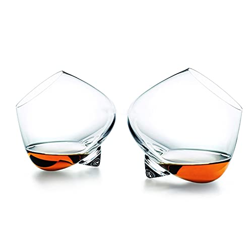 XINYAN qun-qun Creative Whipping Top Whisky Rock Crystal Glass Normann Rotate Scopperil Licor Whisky Wine Cup Cognac Brandy Snifters Vaso (Capacity : 435ml, Color : Normann Rock Glass)