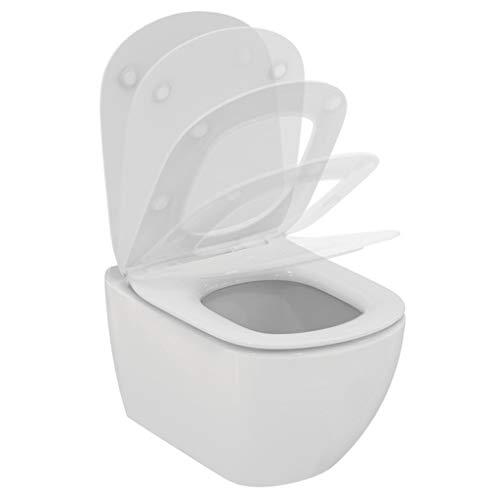 Ideal Standard T465401 TESI Vaso sospeso AquaBlade® con fissaggi nascosti, completo di sedile slim a chiusurarallenatata e sgancio rapido - Bianco - Logo rings