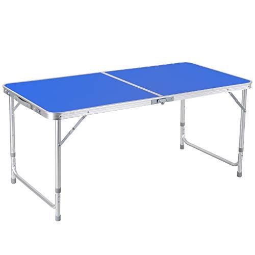 Homfa Campingtisch Klapptisch Gartentisch Falttisch aus Aluminium faltbar höhenverstellbar blau 120x60x55/60/70cm