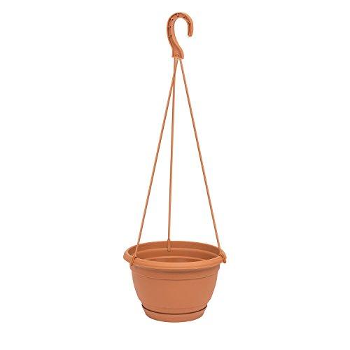 Prosperplast Blumenampel Pflanzschale Blumen-Schale Blumentopf Untersetzer Aufhänger Terracotta-braun D 210 mm Kunststoff