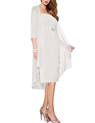 HUINI Brautmutter Kleider mit Jacke Wadenlang Chiffon Perlen Hochzeitskleid Abendkleid Ballkleid Festkleider Elfenbein