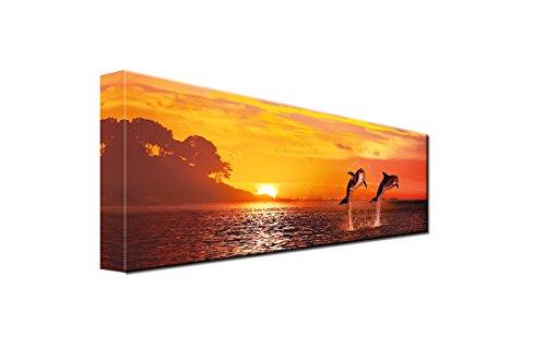 DEINEBILDER24 - Wandbild Panorama 2 Delfine springen im Sonnenuntergang aus dem Wasser 40 x 120 cm auf Leinwand und Keilrahmen. Beste Qualität, handgefertigt in Deutschland!