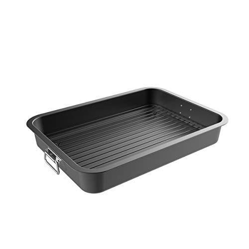 Classic Cuisine Roasting Pan with Flat Rack-Nonstick Oven Roaster and Removable Tray-Drain Fat and Grease for Healthier Cooking-Kitchen Cookware, Black