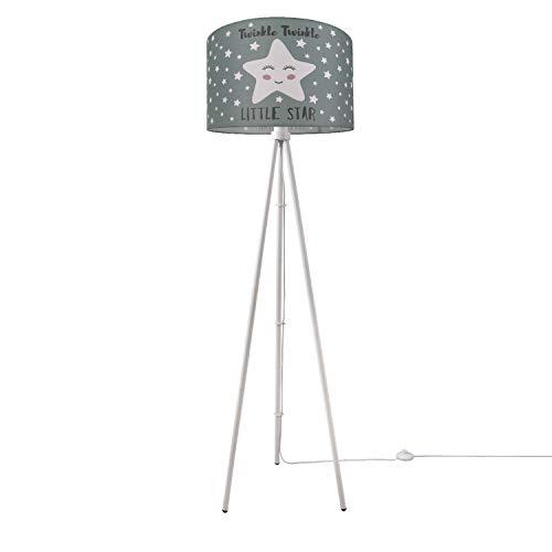 Paco Home Luminaria Habitación Infantil Lámpara De Pie LED Estrellas Deco Lámpara Pie E27, Base de la lámpara:Tres Patas Blanco, Pantalla de lámpara:Gris (Ø45.5 cm)
